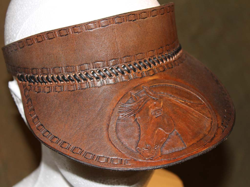 Hand Crafted Leather Peak Cap  Sun Visor - carved with horses head ... 0969ecf56ed